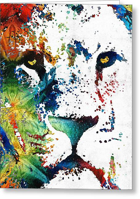 Colorful Lion Art By Sharon Cummings Greeting Card