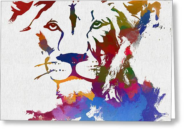 Colorful Lion Face Greeting Card