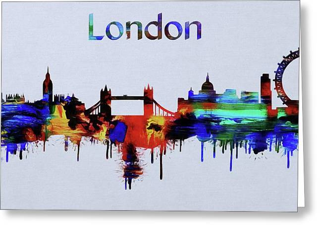 Colorful London Skyline Silhouette Greeting Card