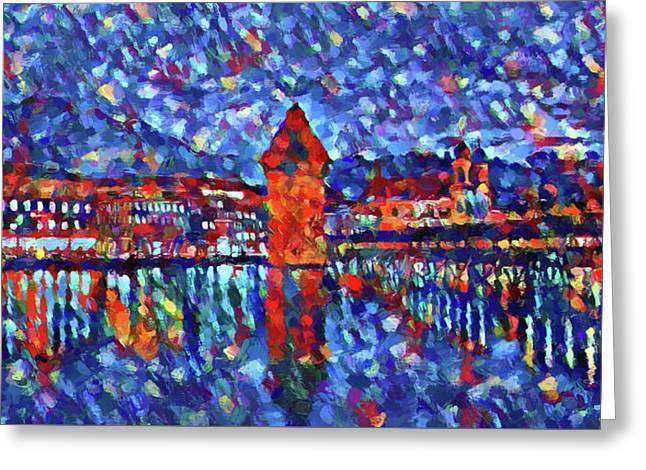 Colorful Lucerne Skyline Greeting Card by Dan Sproul