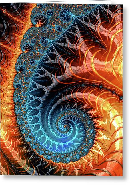 Colorful Luxe Fractal Spiral Turquoise Brown Orange Greeting Card by Matthias Hauser