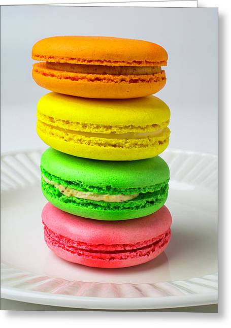 Colorful Macaroons Greeting Card by Garry Gay