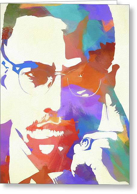Colorful Malcolm X Greeting Card by Dan Sproul