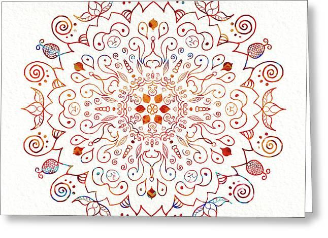 Colorful Mandala On Watercolor Paper Greeting Card