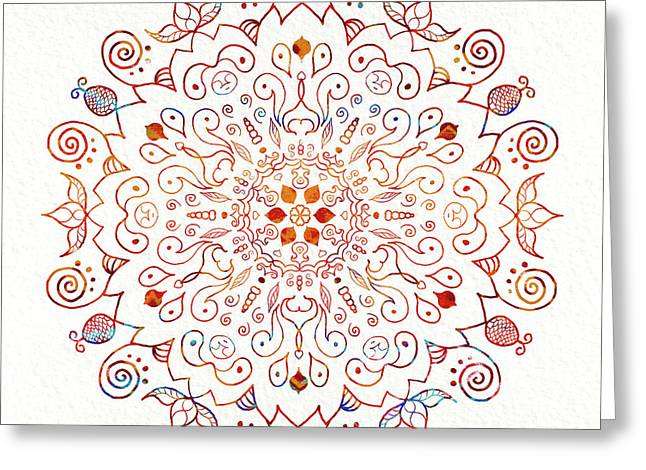 Colorful Mandala On Watercolor Paper Greeting Card