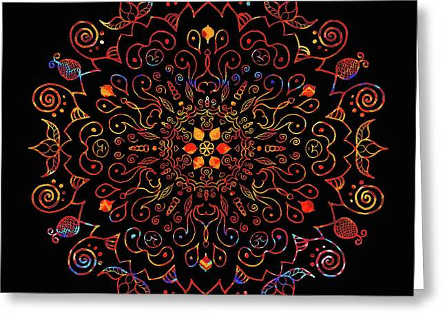Colorful Mandala With Black Greeting Card