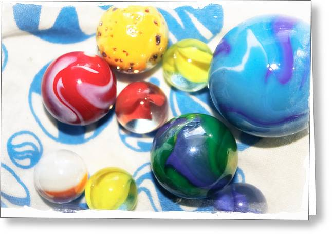 Colorful Marbles Greeting Card by Colleen Kammerer