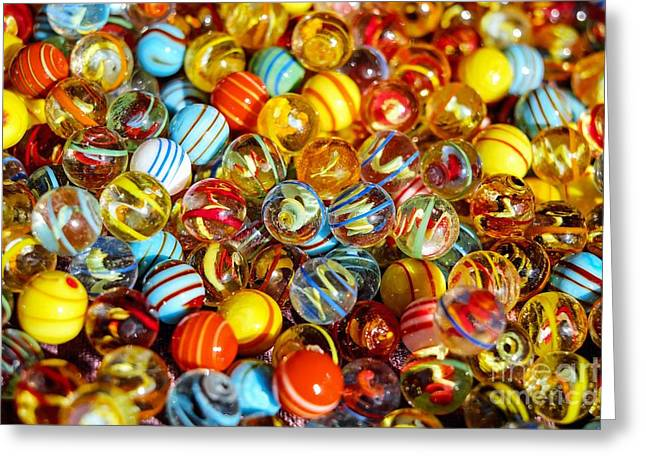 Colorful Marbles - Toys Still Life Greeting Card by Thomas Jones