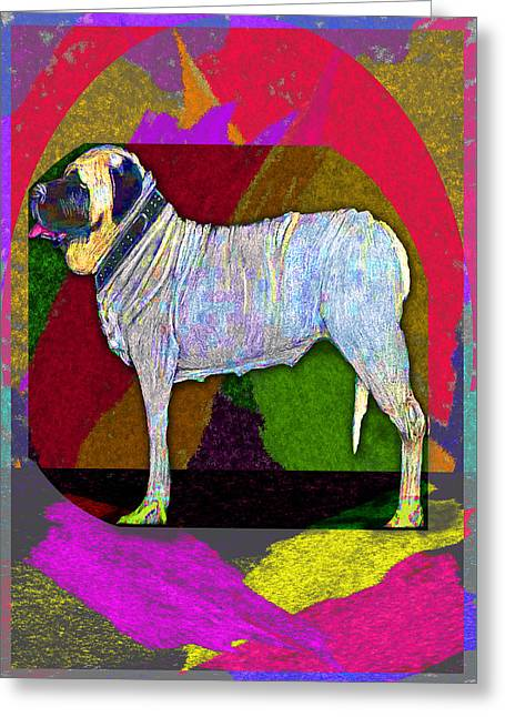 Greeting Card featuring the drawing Colorful Mastiff by Michelle Audas