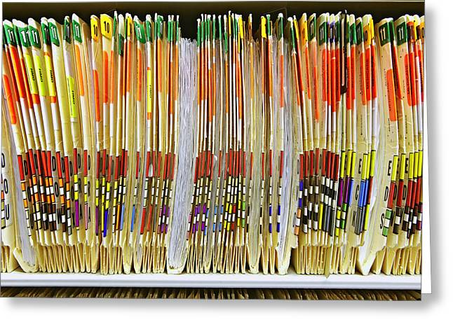 Tab Greeting Cards - Colorful Medical Folders Greeting Card by Skip Nall