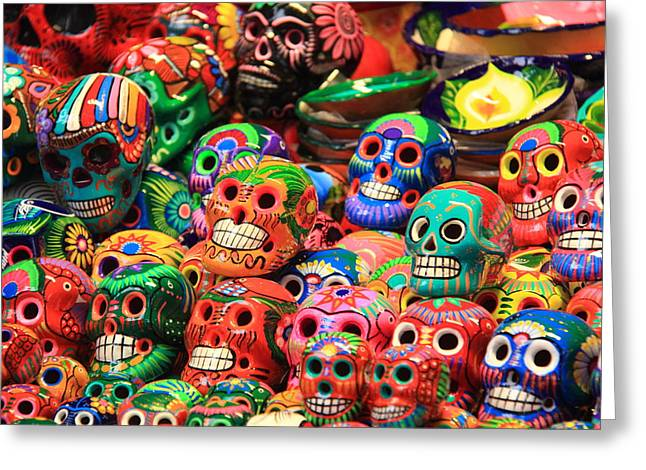 Colorful Mexican Day Of The Dean Ceramic Skulls Greeting Card