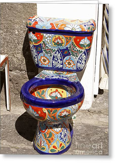 Colorful Mexican Toilet Puebla Mexico Greeting Card by John  Mitchell