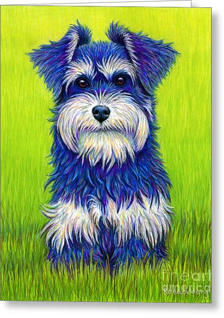 Colorful Miniature Schnauzer Dog Greeting Card