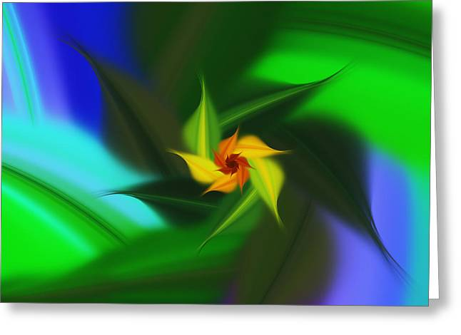 Colorful Modern Abstract Flower Greeting Card by Georgiana Romanovna