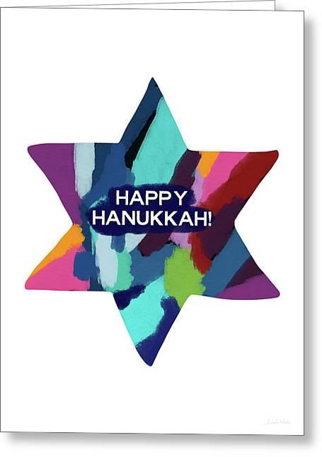 Colorful Modern Hanukkah- Art By Linda Woods Greeting Card