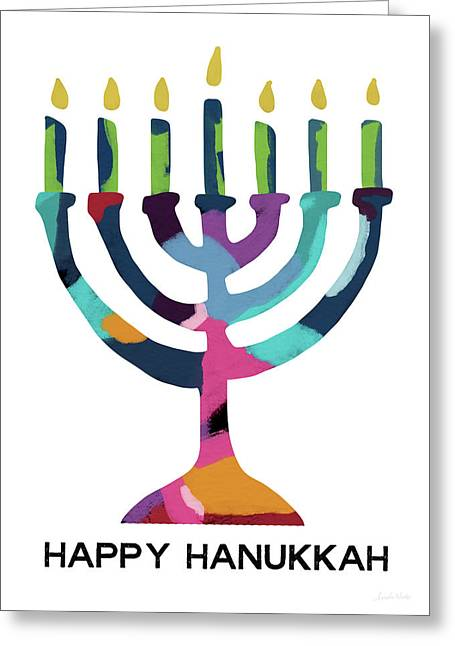 Colorful Modern Menorah- Art By Linda Woods Greeting Card