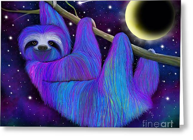 Colorful Moonlight Sloth Greeting Card by Nick Gustafson