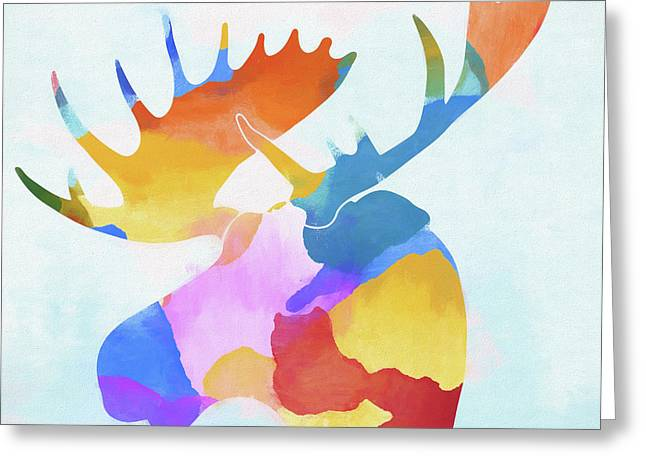 Colorful Moose Head Greeting Card by Dan Sproul