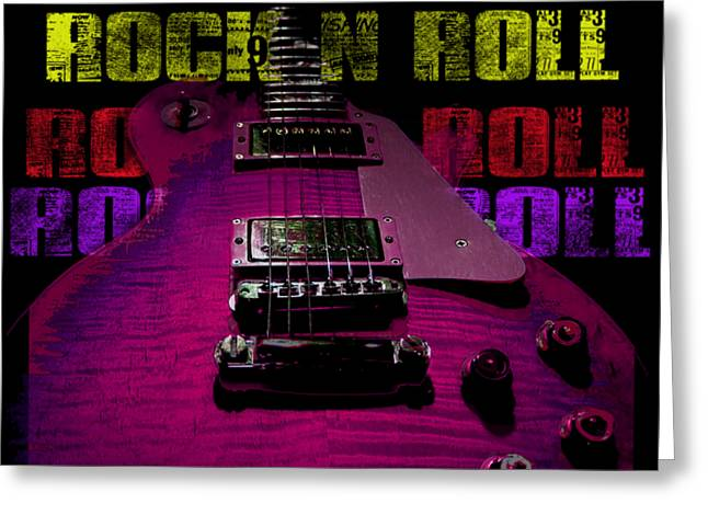 Greeting Card featuring the photograph Colorful Music Rock N Roll Guitar Retro Distressed T-shirt by Guitar Wacky