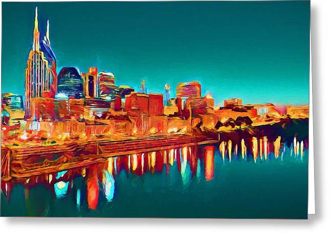 Colorful Nashville Skyline Reflection Greeting Card by Dan Sproul