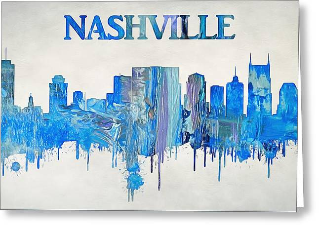 Colorful Nashville Skyline Silhouette Greeting Card by Dan Sproul