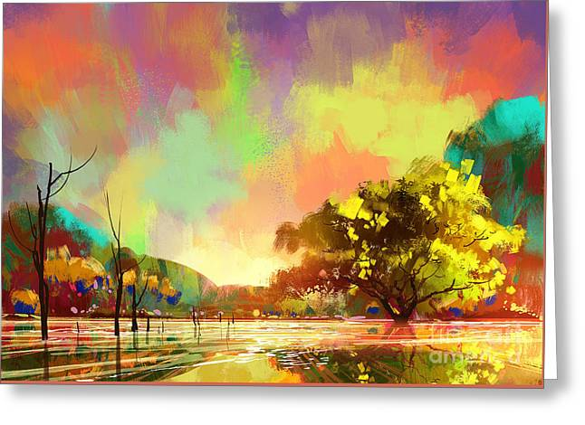Greeting Card featuring the painting Colorful Natural by Tithi Luadthong