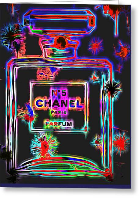 Colorful Neon Chanel Five  Greeting Card