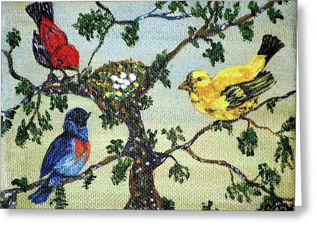 Colorful Nesting Birds Greeting Card by Ann Ingham