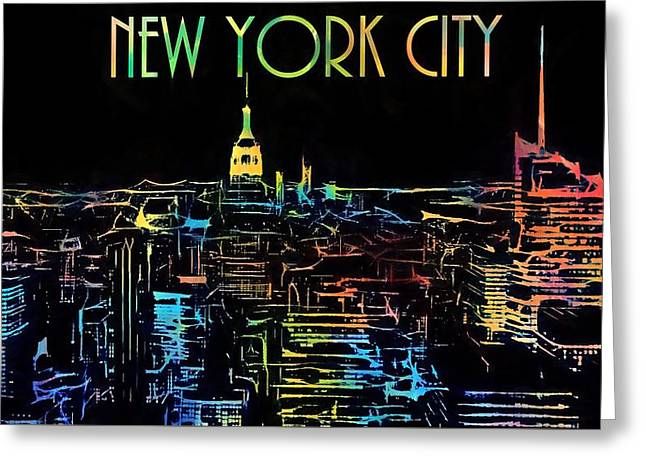 Colorful New York City Skyline Greeting Card