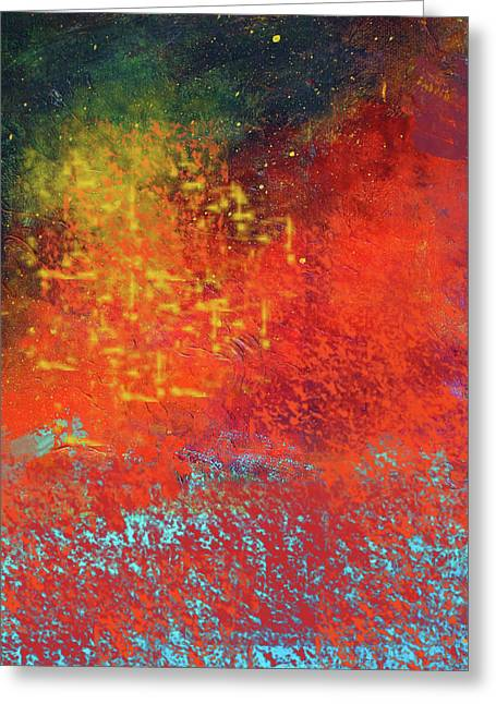 Greeting Card featuring the painting Colorful Night by Nancy Merkle