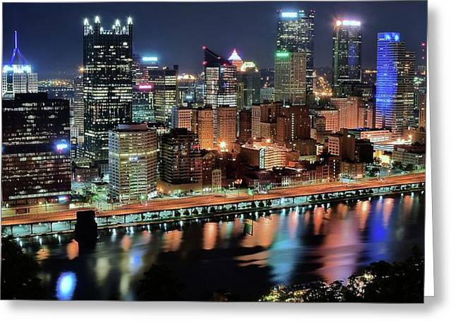 Colorful Night Pittsburgh Greeting Card