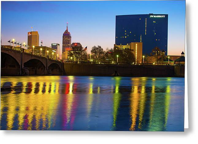 Colorful Night Reflections - Indianapolis Indiana Skyline Greeting Card by Gregory Ballos