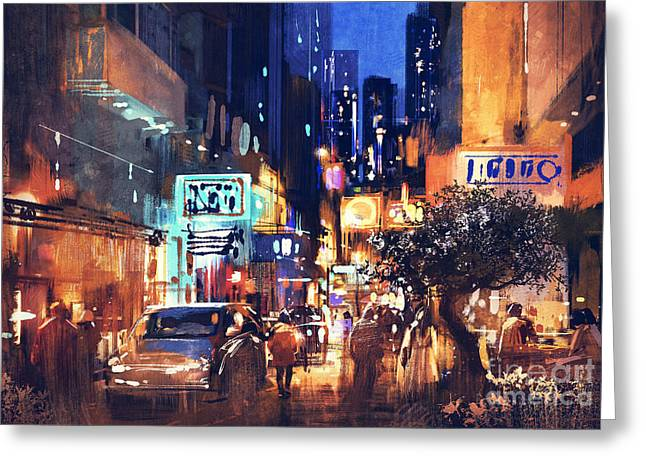 Greeting Card featuring the painting Colorful Night Street by Tithi Luadthong