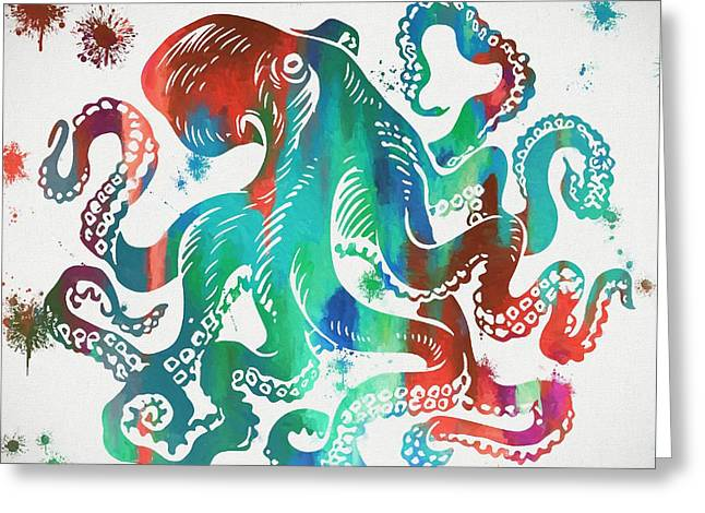 Colorful Octopus  Greeting Card by Dan Sproul