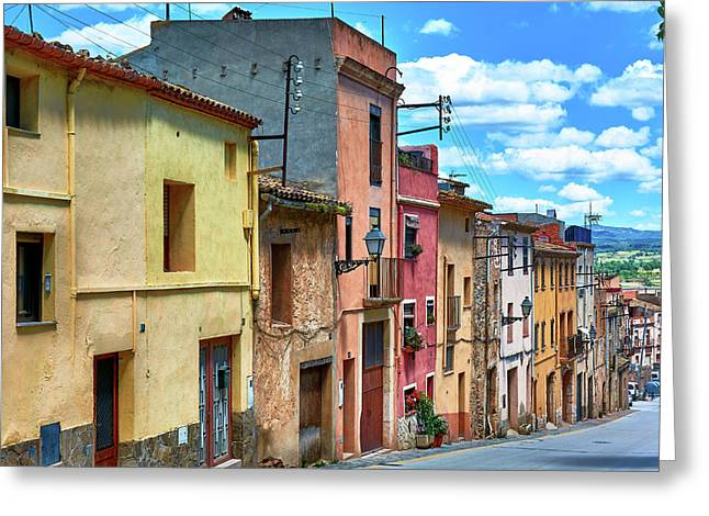 Colorful Old Houses In Tarragona Greeting Card