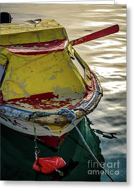 Colorful Old Red And Yellow Boat During Golden Hour In Croatia Greeting Card