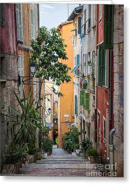 Colorful Old Street In Villefranche-sur-mer Greeting Card