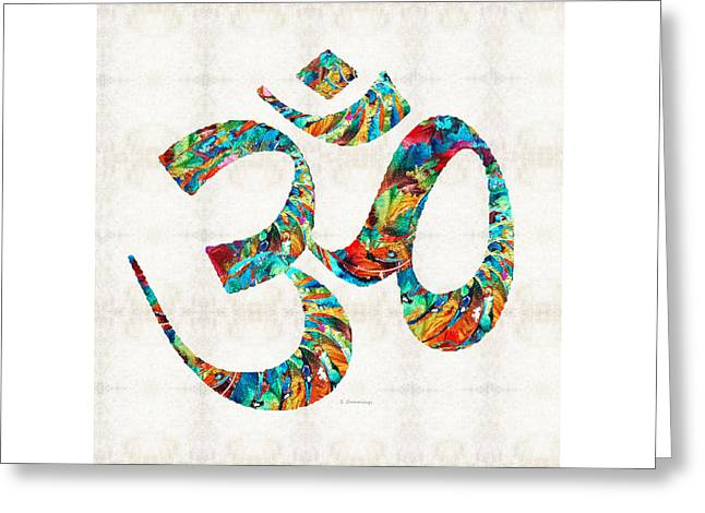 Colorful Om Symbol - Sharon Cummings Greeting Card by Sharon Cummings