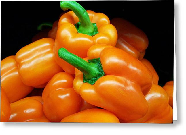 Stir-fry Greeting Cards - Colorful Orange Bell Peppers Greeting Card by Kathy Clark