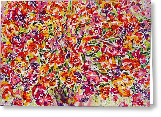 Greeting Card featuring the painting Colorful Organza by Natalie Holland