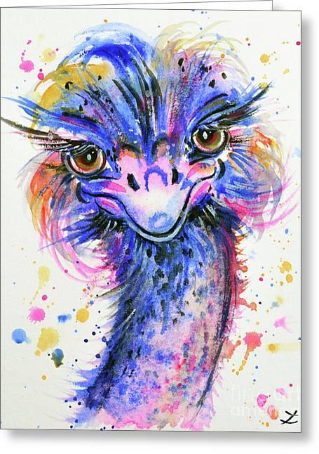 Colorful Ostrich Greeting Card by Zaira Dzhaubaeva