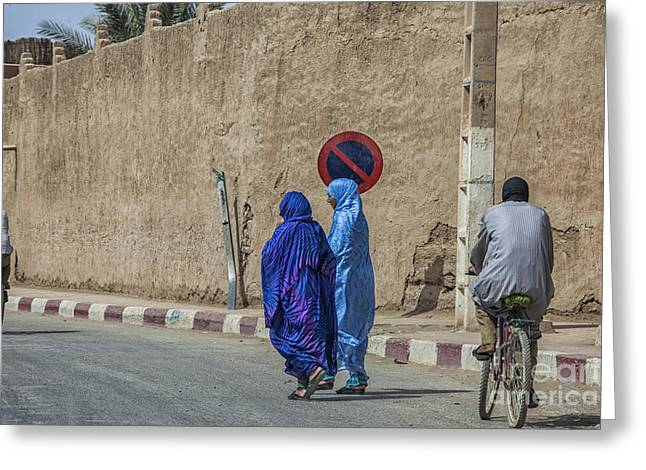 Colorful Outfits On The Street In Morocco Greeting Card by Patricia Hofmeester