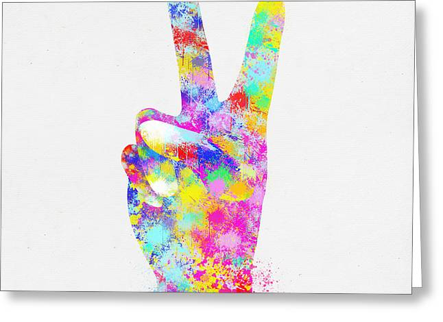 Colorful Painting Of Hand Point Two Finger Greeting Card by Setsiri Silapasuwanchai
