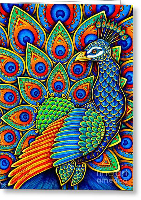 Colorful Paisley Peacock Greeting Card