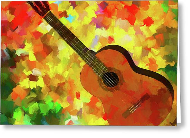Colorful Palette Knife Guitar Greeting Card