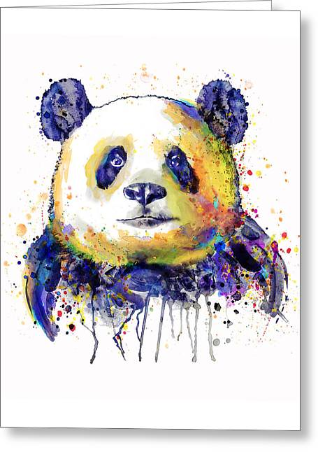 Colorful Panda Head Greeting Card by Marian Voicu