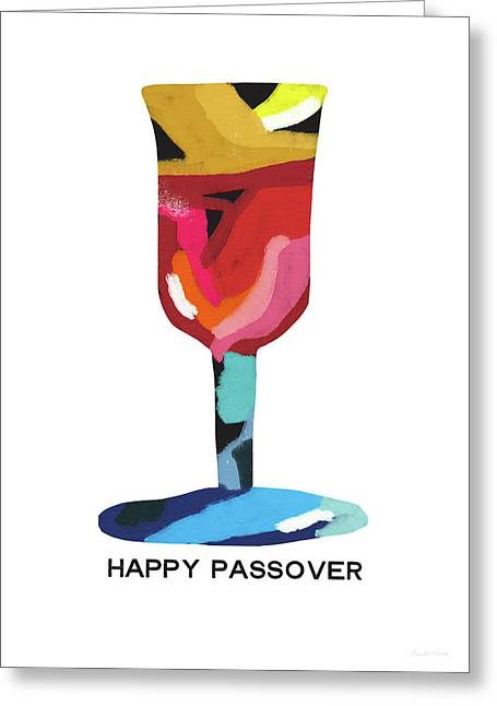 Colorful Passover Goblet- Art By Linda Woods Greeting Card