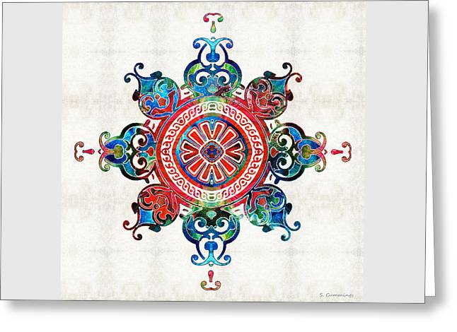 Colorful Pattern Art - Color Fusion Design 3 By Sharon Cummings Greeting Card