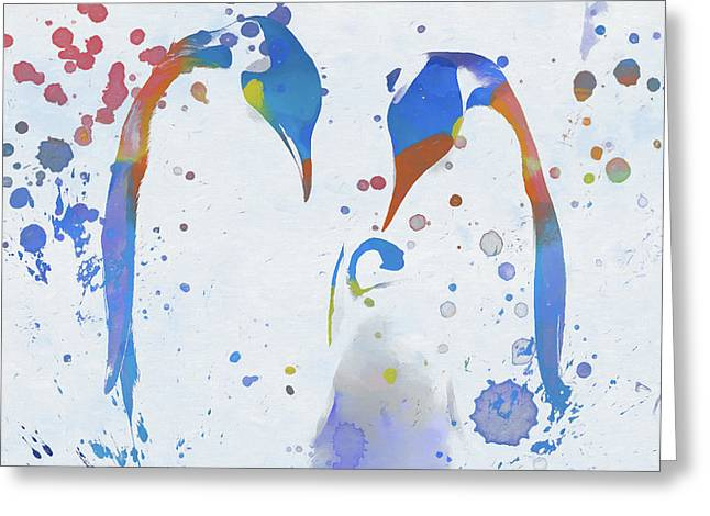 Greeting Card featuring the painting Colorful Penguin Family by Dan Sproul