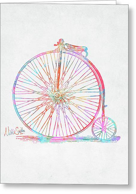 Colorful Penny-farthing 1867 High Wheeler Bicycle Greeting Card